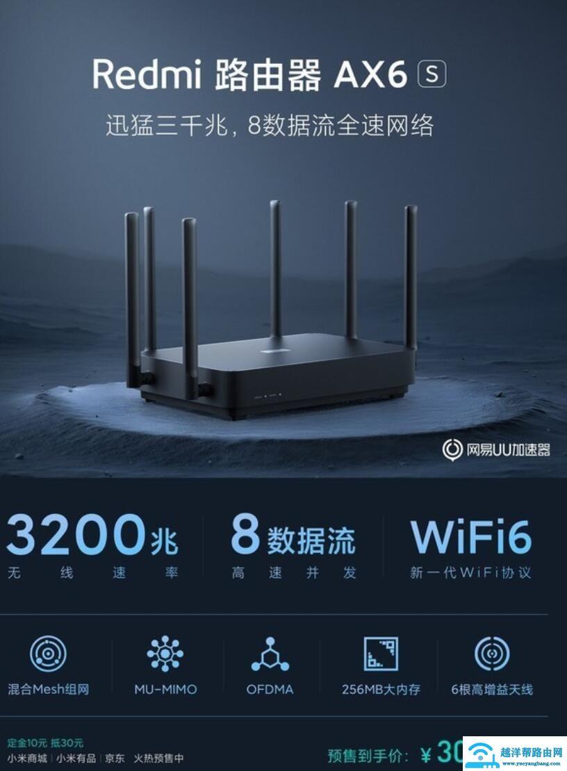 Redmi路由器AX6S开售(速度达3202Mbps)